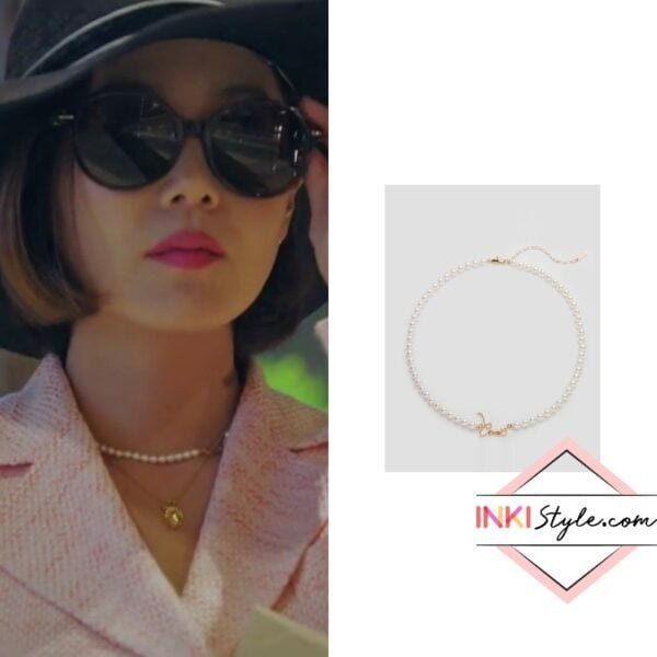 Eugene's Lettering Pearl Choker Necklace in Penthouse