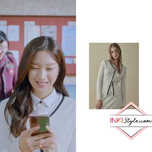 Moon Ga-Young's Line Pointed Wool Cardigan in True Beauty