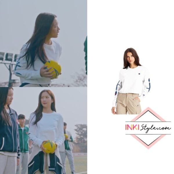 Moon Ga-Young's Long-Sleeve Boyfriend Cropped Tee in True Beauty