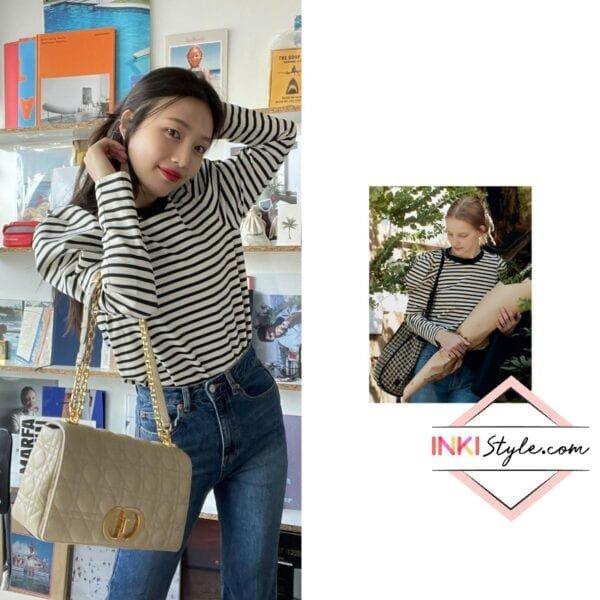 Red Velvet Joy's Ssangmun Puffed Long Sleeve T-shirt on Instagram