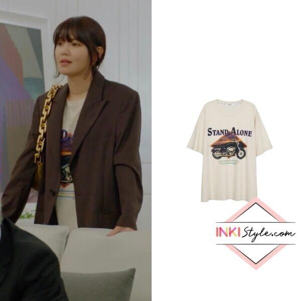 Sooyoung's Motorcycle Print Big Tee in Run On