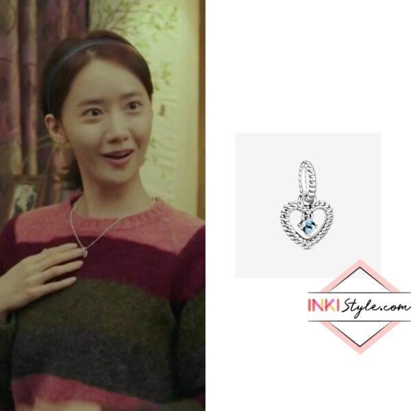 Yoona's March Aqua Blue Beaded Heart Dangle Charm in Hush