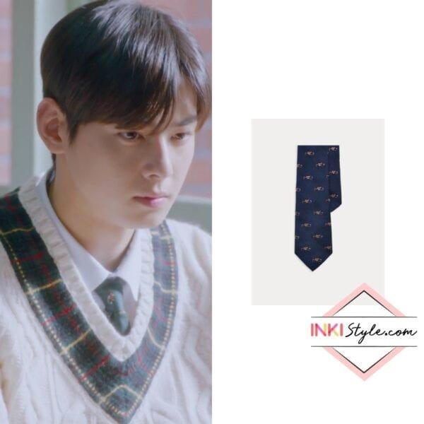 Cha Eun-Woo's Fox & Crop Wool-Silk Tie in True Beauty