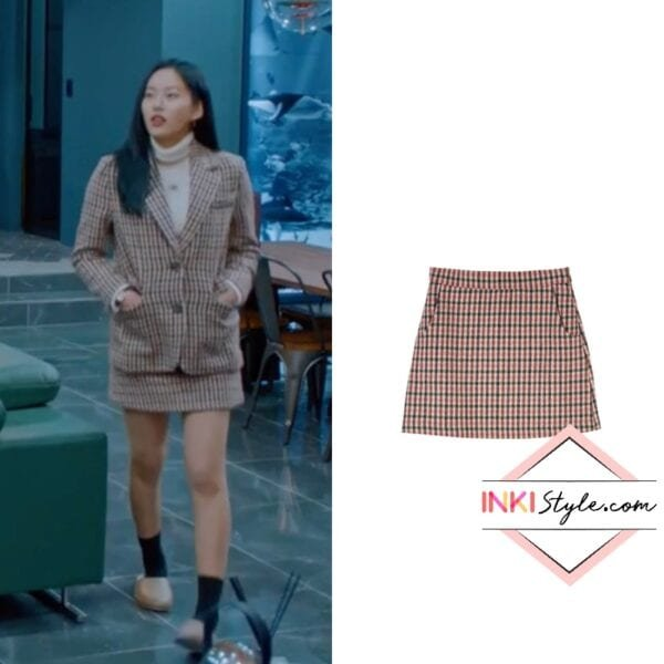 Park Yoo-na's Wool Blend Check Pattern Mini Skirt in True Beauty