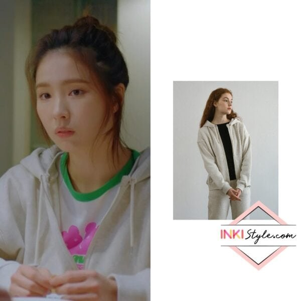 Shin Se-Kyung's Logo Stitch Zip Up Hoodie in Run On