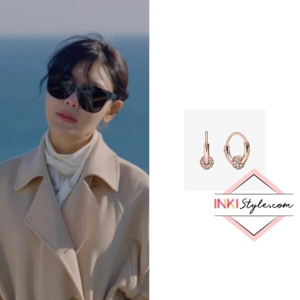 Sooyoung's Pave Bead Hoop Earrings in Run On