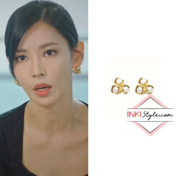 Kim So-yeon's Three Bold Pearl Earring Earring Gold Silver in Penthouse 2