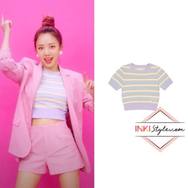APINK Namjoo's IN Stripe Cropped Knit Top in Thank You MV