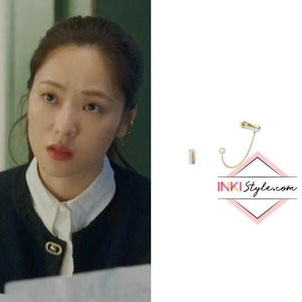 Jeon Yeo-bin's Time Pierced Earrings Cuff in Vincenzo