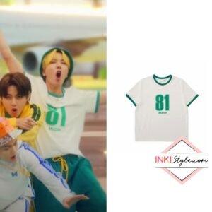 BTS J-hope's Oversized Numbering T-shirt in Butter MV