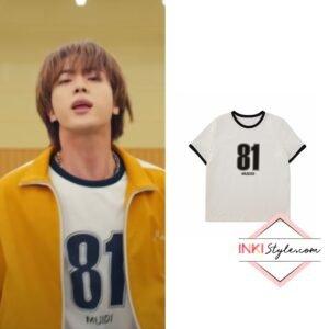 BTS Jin's Oversized Numbering T-shirt in Butter MV