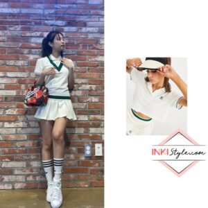 Blackpink Jennie's Tennis Luxe Logo Cropped Logo Shirt on Instagram