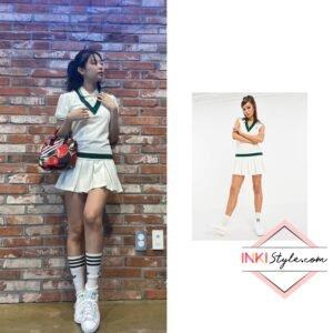 Blackpink Jennie's Tennis Luxe Logo V-neck Pleated Dress on Instagram