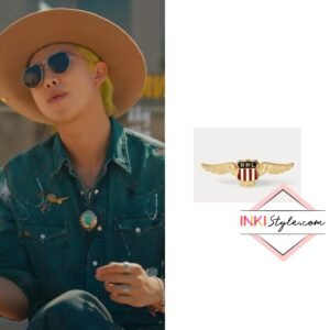 BTS RM's Winged Shield Enameled Pin in Permission To Dance MV