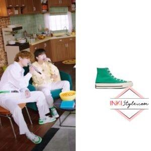 BTS Suga's Green Chuck 70 Hi Sneaker on 'Dynamite' Performance at SiriusXM Hits 1
