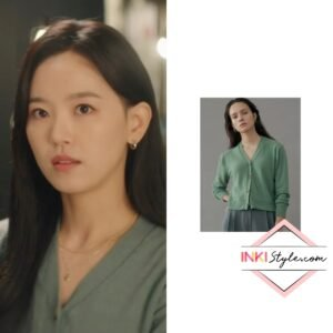 Kang Han-na's Soft V-neck Wool Cropped Knit Cardigan in My Roomate Is A Gumiho