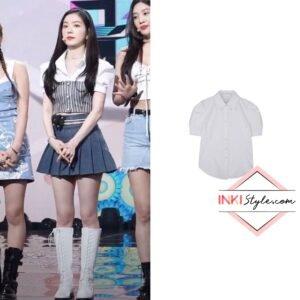 Red Velvet Irene's Half Slim Puff Shirts on 'Queendom' performance on Music Bank