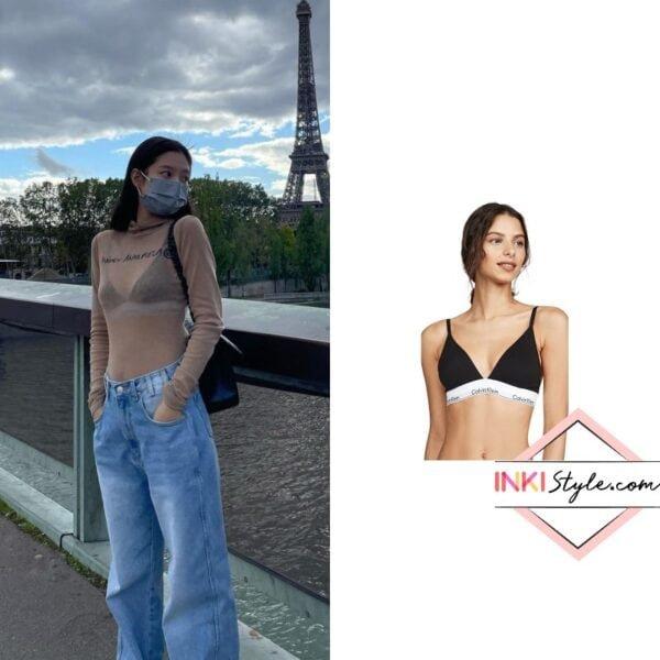 BLACKPINK Jennie's Modern Cotton Lightly Lined Triangle Bralette on Instagram
