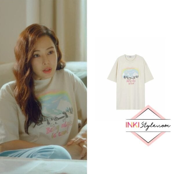 Lee Ha-nee's Oversized Drawing Print T-shirt in One The Woman